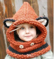 Wholesale Lovely children hats crochet fox wool unisexual ear protected wind proof knitted hats and scarfs set