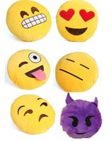 Wholesale 2016 Styles Diameter cm Cushion Cute Lovely Emoji Smiley Pillows Cartoon Cushion Pillows Yellow Round Pillow bolster Stuffed Plush Toy