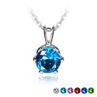 aquamarine necklace white gold - 2016 Hot Wedding Party Gift Engagement Round Cut Pendant Free Necklace Aquamarine Red ruby Green Emerald Blue Sapphire Pink Sapphire