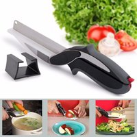 Wholesale Clever Cutter in Stainless Steel Kitchen Scissors With Sharp Knife Blade Cutting Board Food Cutter for Meat Vegetable