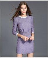 beauty empire waist - Autumn New Fashion Elegant Beauty Lace Neck High Quality Short Dresses S XL Long Sleeve Pleated waist Slim Sheath Lady Dress for Party