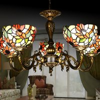 art on glass - Tiffany Contemporary Art Chandeliers Stained Glass Pendant Lamps Restaurant Lights Handmade Sunflower Lampshade Living Room Lighting Bedroom