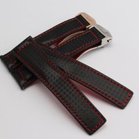 bands cowhides - New Arrival Watch Band Bracelets mm mm Carbon Fibre Watch Strap Rosegold Black deployment steel clasp cowhide leather bottom fashion