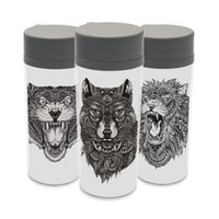 abstract bottle - Plastic Insulated Abstract Lion Animals Kids Water Bottle ml Art Gift BPA Free Clear Personalized Tiger Wolf Black White Cup