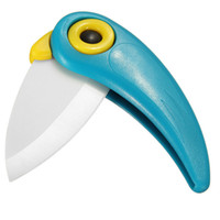 Wholesale Bird Parrot Folding Ceramic Knife Fruit Vegetable Cutting Paring Mini Knives Portable Convenient Safety F0352
