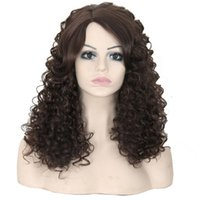 good quality wigs - Top quality good feedback afro kinky curly long brown synthetic color4 u part hair wigs for africa american black women