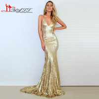 Wholesale Cheap African Gold Sequins Mermaid Prom Dress Deep V neck Sexy Sparkle Long Glitter Evening Women Gown Criss Cross Backless