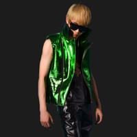 bar apparel - Fall Men shine green patent leather vest nightclub bar DJ stage show vest singer locomotive jacket vest punk apparel K629