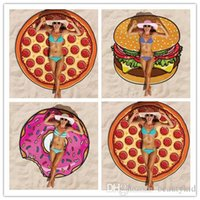 Wholesale IndianTapestry Hippie Polyester Shawl Mandala Round Beach Towel Blanket Outdoor Pincnic Blanket Donuts Pizza Hamburg BKT072