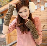 Wholesale Adjustable Length Wrist Fingerless Gloves Half Finger Warm Gloves Long Solid Fingerless Knitted Gloves Wrist Arm Sleeve