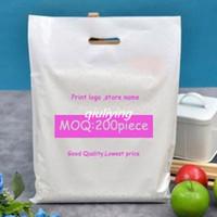 200pcs Personalizar el logotipo de plástico Bolsas de la compra Tienda de embalaje personalizado caso Verde Negro blanco Pastel rojo bolsas