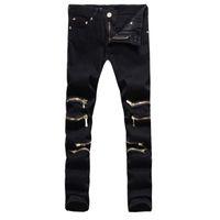 acid pants - New Fashion Black Skinny Jeans for men Cotton Slim Fit Mens Zipper Jeans Pants famous brands designer Acid Washed biker jeans