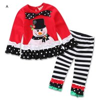 baby kitting clothes - New Arrival Baby Girl Christmas Birthday Outfits Clothes Bow Lace Skirt T Shirt Top Ruffle Pant Legging Boutique Suit For Children Set Kit