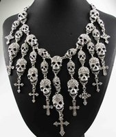 alloy department - Newest Gorgeous Fashion Necklace Skeleton skull Cross Jewelry crystal Department Statement Women Choker Necklaces Pendants
