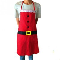 Wholesale Christmas Decoration Apron Kitchen Aprons Christmas Holiday Dinner Party Apron Santa Xmas Kitchen Apron