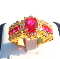 Wholesale New Fashion Women Noblest Rings Women s Jewelry White Ruby gemstone14KT GP Yellow Gold Gemstone Ring gifts