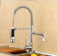 Wholesale 2016 Modern Creative Spring Pull Out Kitchen Sinks Faucet Brass Material Hot and Cold Wash Basin Mixer Sprayer Tap torneira