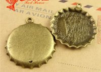 antique large bottle - 35 MM Fit MM Antique bronze The large beer bottle cap charms pendant jewelry accessories DIY vintage bracelet charm for diy