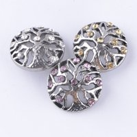 Wholesale Retro MM Rhinestone Snap Chunk Charm Button Colors Tree Of Life Snaps Button Fit For Diy Jewelry Noosa Leather Bracelets