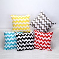 Wholesale Sofa Cushion Covers WATER WAVE cm Cotton Square Cushions White Black Yellow Red Blue Colorful Striped Home Decoration Pillow Cases