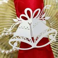 bar napkins - 240pcs Laser Cut Hollow Bell Paper Card Napkin Ring Serviette Buckle Holder For Hotel Bar Wedding Party Favour Decoration