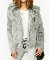 batik hair - 2016 Fashion Faux Silver Fox Fur Slim Coat For Women Long Hair Clothes Fake Mongolia Sheep Fur Turn Down Collar Fluffy Jacket