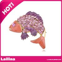 al por mayor aqua broche de diamantes de imitación-100pcs / lot de los pescados de Koi del tono de la broche de oro con Aqua cristalino púrpura de diamantes de imitación