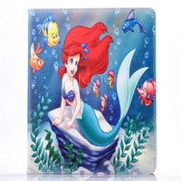 alice leather - For iPad air Mini inch Case for character cartoon Mermaid and Alice tablet Flip cover stand shell Auto sleep wake OPP BAG