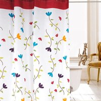 Wholesale New Waterproof Polyester Flower Bathroom Shower Curtains with Rings High Quality