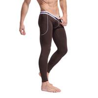 Wholesale Men Soft Fiber Long Johns Thermal Pants Bottom Solid Color Underwear S M L