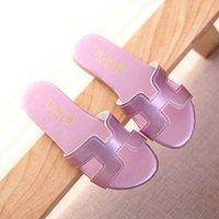Wholesale 2016 New brand girls slides fashion solft leather kids slipper for girls T summer girls slipper with pu