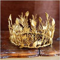 Wholesale Vintage Designer Wedding Bridal Baroque Gold Butterfly Hair Accessories Jewelry Queen Princess Headpieces Crown Tiara Headdress Headpieces