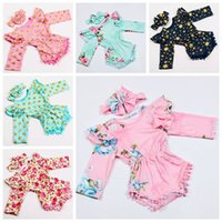 Wholesale baby girls tassel rompers with headband baby long sleeve fall winter bodysuit newborn polka dot flower onesies cotton romper sets