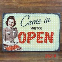Wholesale COME IN Tin Sign Bar pub home Painting Wall Decor Retro Metal Art Poster Open