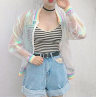 Wholesale New summer tide transparent organza colorful rainbow tie dye loose thread color sun protection clothing