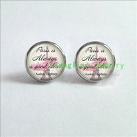 audrey hepburn earrings - Paris is always a good idea Audrey Hepburn Quote Earrings jewelry glass Cabochon Earrings ES