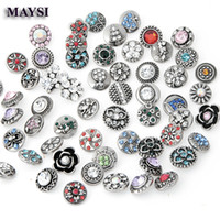 Wholesale 100 crystal mm snap button jewelry Mix Design Ginger Diy Metal Snap Button Rhinestone jewelry making supplie