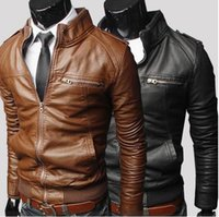 Wholesale hot sale new fashion faux soft leather mandarin collar slim fit men s casual jackets M XXL COLOR ZPY08