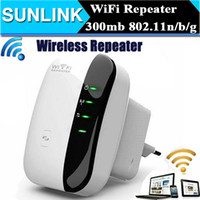 achat en gros de fiche d'extension de routeur-EU EU AU EU Plug Sans fil N 802.11N / B / G WPS 300Mbps réseau répéteur WiFi pour AP Router gamme amplificateur amplificateur de signal étendre l'amplificateur