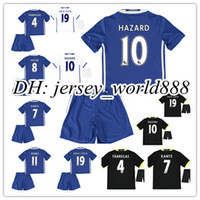Wholesale 16 kids Chelsea home blue soccer Jersey Kits PEDRO FABREGAS HAZARD DIEGO COSTA WILLIAN KANTE Away black white child youth Football Shirt