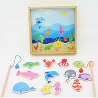 Wholesale Fishing disk Baby Toys Wooden Educational toys early childhood family games Pretend Play Fishing