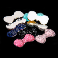 beads on fabric - Glue On Resin Beads x23mm Many Colors Bows Bowknot Flatback Non Hotfix Crafts Rhinestones For Fabric Garments Embellishments