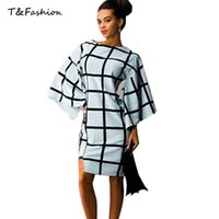 big black pencil - Cheap Autumn Dresses Women Long Sleeve Dresses O Neck Big Plaid White and Black kimono Sleeve Dress