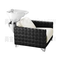 Wholesale shampoo bed salon furniture comfortable salon hairwashing bed gorgeous white and black leather