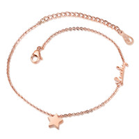 anniversary ankles - Delicate Rose Gold Plated Star Ankle Bracelet Foot Jewelry