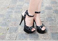 beach dress shoes - Princess Style cm Black High Heel Shoes Platform Sandals Pole Dance Shoes Wedding Shoes Dress Shoes