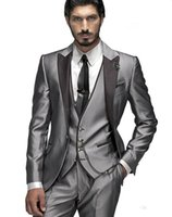 Wholesale 2016 New Arrival Beautiful Light Grey Morning Suits Groom Tuxedos Suit Men Brand Slim Fit FashionHandsome Jacket Pants Vest Tie Rated