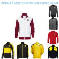 Wholesale TOP THAI QUALITY white blue Bayern MULLER RIBERY Dortmund soccer jacket LONG sleeve Tracksuit football shirt
