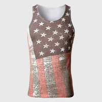 american flag material - American Flag Body Tank Top Men Cotton Material Vests Tops Muscle Swag Striped Star Print Sleeveless