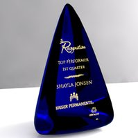 awards engraving - Custom Crystal trophy awards with engraving for business gifts dark blue new fashion home garden Decorative